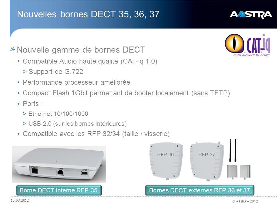 © Aastra – 2012 Nouvelle gamme de bornes DECT Compatible Audio haute qualité (CAT-iq 1.0) >Support de G.722 Performance processeur améliorée Compact F