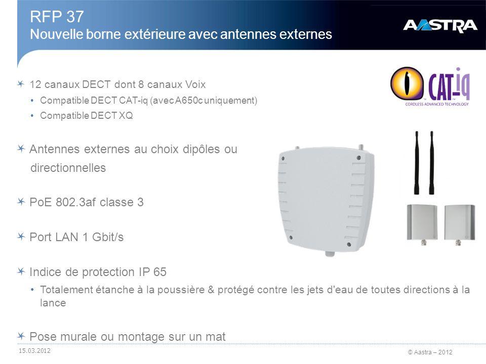 © Aastra – 2012 12 canaux DECT dont 8 canaux Voix Compatible DECT CAT-iq (avec A650c uniquement) Compatible DECT XQ Compatible WLAN IEEE 802.11a, b, g et n (MIMO 2x2) Antennes WLAN intégrées (2,4 GHz / 5 GHz) De 1 à 4 BSSIDs (Basic Service Set Identifiers) par point daccès WLAN PoE 802.3af classe 3 Ou alimentation externe 230V AC Port LAN 1 Gbit/s Unique pour DECT/WLAN Nouveau port USB 2.0 RFP 43 WLAN Nouvelle borne intérieure DECT / WLAN 15.03.2012 Alimentation Externe Port LAN 1 Gbit/s DECT & WLAN Port USB 2.0