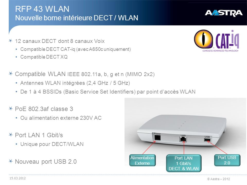 © Aastra – 2012 12 canaux DECT dont 8 canaux Voix Compatible DECT CAT-iq (avec A650c uniquement) Compatible DECT XQ Compatible WLAN IEEE 802.11a, b, g