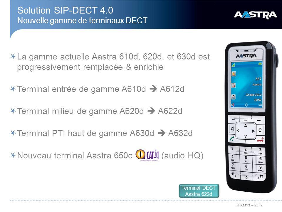 © Aastra – 2012 Solution SIP-DECT 4.0 Fonction DECT Free-Seating Login / Logout sur le réseau DECT Accès par code de facilité 1 + numéro + code PIN 1 Labonnement usager DECT A5000 est configuré avec le « droit au délogement » Interdit de se déloger dun poste filaire IP/SIP Aastra pour se loguer sur un terminal DECT Légende : 1 configuré dans lOMM Abo 300 1 1 4 4 2 2 3 3