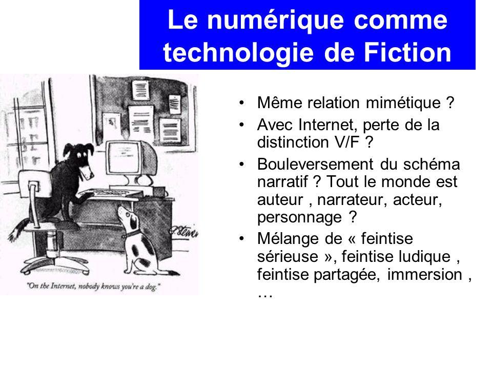 Le numérique comme technologie de Fiction Même relation mimétique .