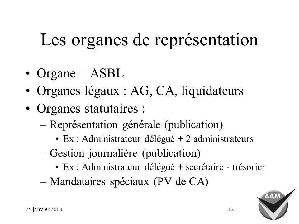 25 janvier 200412 Les organes de représentation Organe = ASBL Organes légaux : AG, CA, liquidateurs Organes statutaires : –Représentation générale (pu