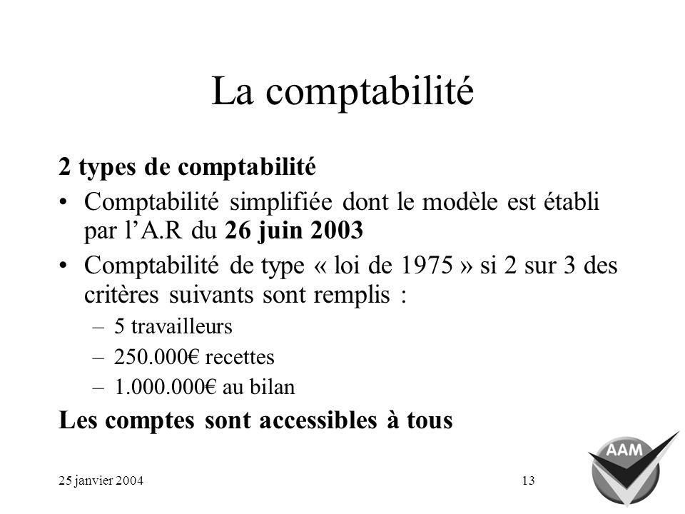 25 janvier 200413 La comptabilité 2 types de comptabilité Comptabilité simplifiée dont le modèle est établi par lA.R du 26 juin 2003 Comptabilité de type « loi de 1975 » si 2 sur 3 des critères suivants sont remplis : –5 travailleurs –250.000 recettes –1.000.000 au bilan Les comptes sont accessibles à tous
