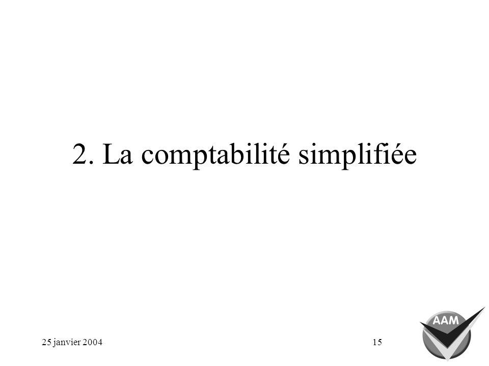 25 janvier 200415 2. La comptabilité simplifiée