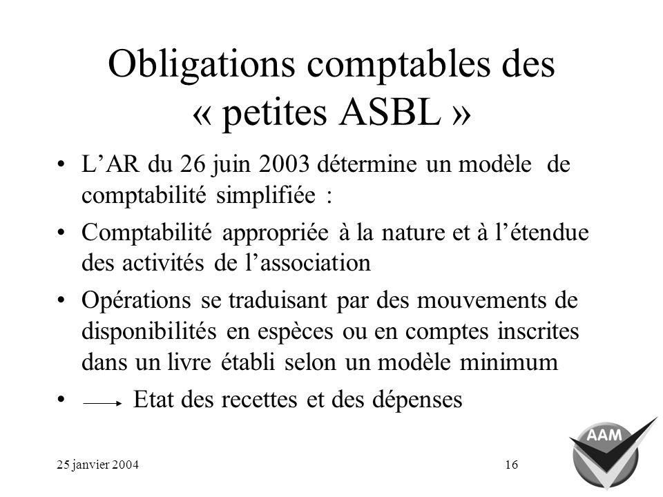 25 janvier 200416 Obligations comptables des « petites ASBL » LAR du 26 juin 2003 détermine un modèle de comptabilité simplifiée : Comptabilité approp
