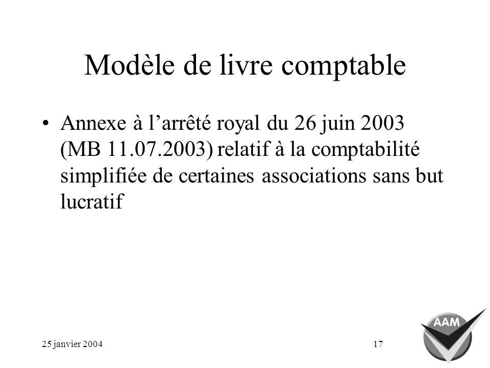 25 janvier 200417 Modèle de livre comptable Annexe à larrêté royal du 26 juin 2003 (MB 11.07.2003) relatif à la comptabilité simplifiée de certaines associations sans but lucratif