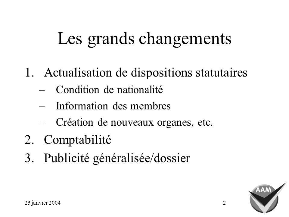 25 janvier 20042 Les grands changements 1.Actualisation de dispositions statutaires –Condition de nationalité –Information des membres –Création de nouveaux organes, etc.
