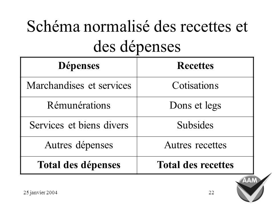 25 janvier 200422 Schéma normalisé des recettes et des dépenses DépensesRecettes Marchandises et servicesCotisations RémunérationsDons et legs Service