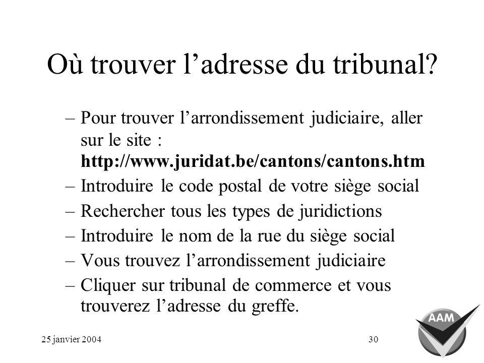 25 janvier 200430 Où trouver ladresse du tribunal? –Pour trouver larrondissement judiciaire, aller sur le site : http://www.juridat.be/cantons/cantons