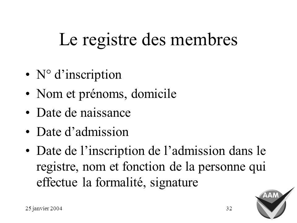 25 janvier 200432 Le registre des membres N° dinscription Nom et prénoms, domicile Date de naissance Date dadmission Date de linscription de ladmission dans le registre, nom et fonction de la personne qui effectue la formalité, signature