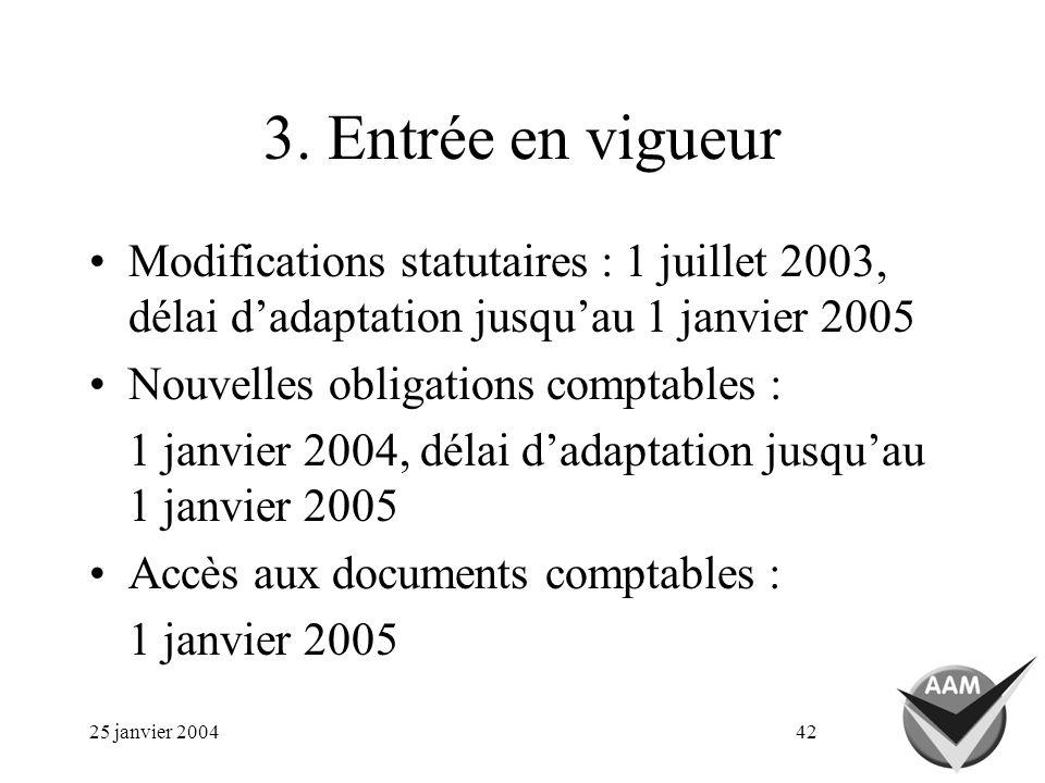 25 janvier 200442 3. Entrée en vigueur Modifications statutaires : 1 juillet 2003, délai dadaptation jusquau 1 janvier 2005 Nouvelles obligations comp