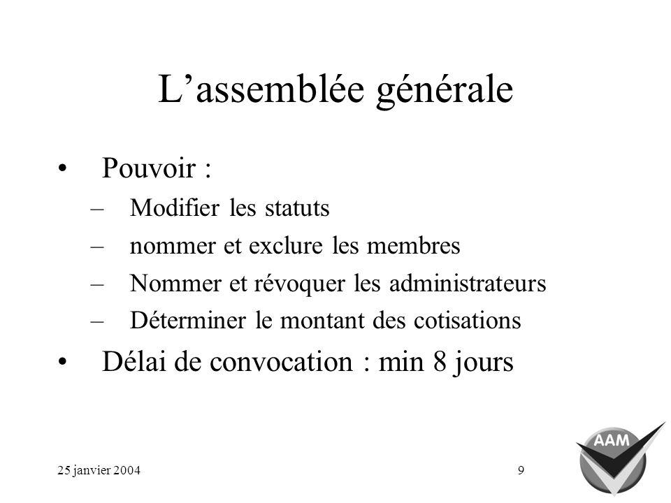 25 janvier 20049 Lassemblée générale Pouvoir : –Modifier les statuts –nommer et exclure les membres –Nommer et révoquer les administrateurs –Déterminer le montant des cotisations Délai de convocation : min 8 jours