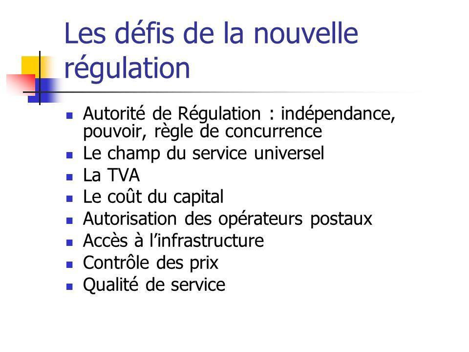 Les défis de la nouvelle régulation Autorité de Régulation : indépendance, pouvoir, règle de concurrence Le champ du service universel La TVA Le coût
