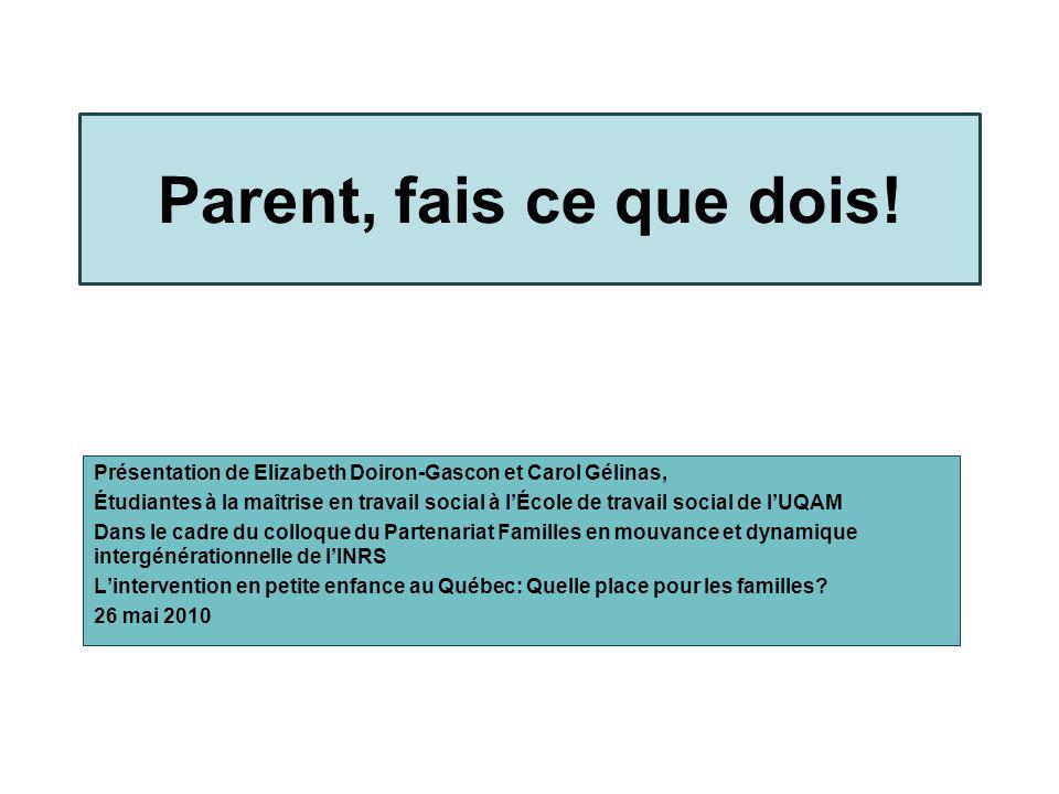 Plan de la présentation Contexte de notre présentation Postulats de Benoît Bastard Le contrôle de la boîte à lunch La participation parentale dans les écoles primaires Et les parents.