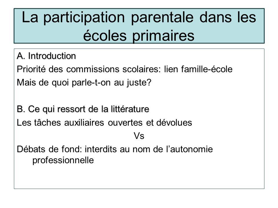 La participation parentale dans les écoles primaires…suite C.Exemples concrets C.
