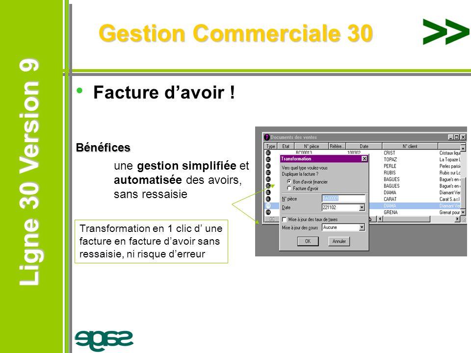 Ligne 30 Version 9 Ligne 30 Version 9 Gestion Commerciale 30 Facture davoir !Bénéfices une gestion simplifiée et automatisée des avoirs, sans ressaisi