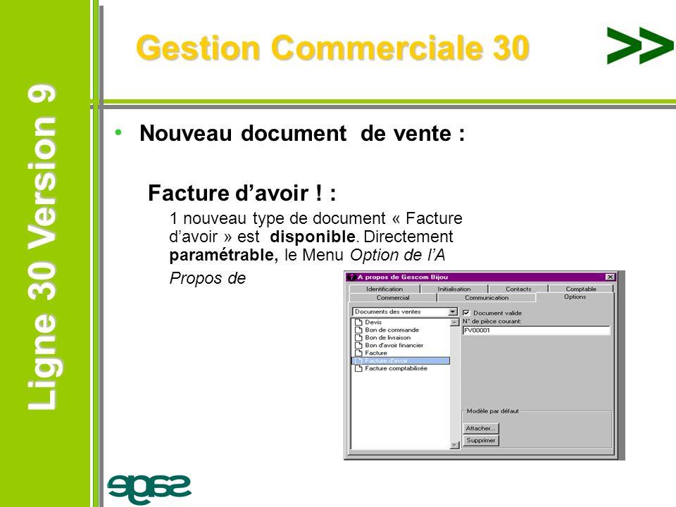 Ligne 30 Version 9 Ligne 30 Version 9 Nouveau document de vente : Facture davoir ! : 1 nouveau type de document « Facture davoir » est disponible. Dir