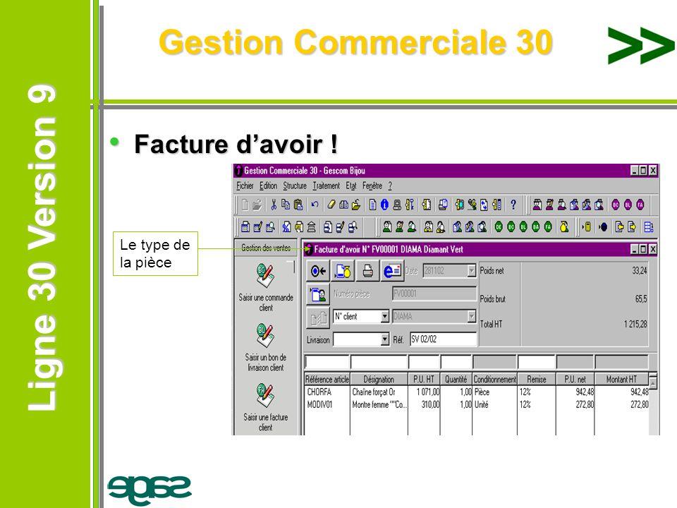 Ligne 30 Version 9 Ligne 30 Version 9 Gestion Commerciale 30 Facture davoir ! Facture davoir ! Le type de la pièce