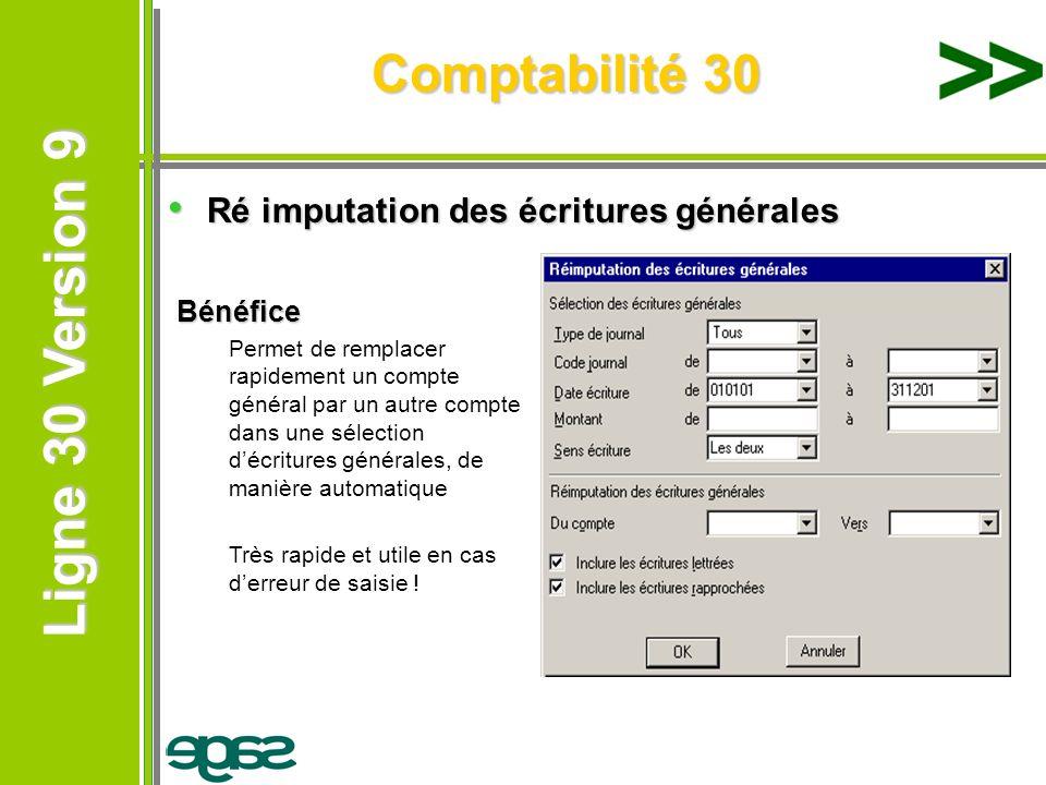 Ligne 30 Version 9 Ligne 30 Version 9 Comptabilité 30 Ré imputation des écritures générales Ré imputation des écritures générales Bénéfice Permet de r