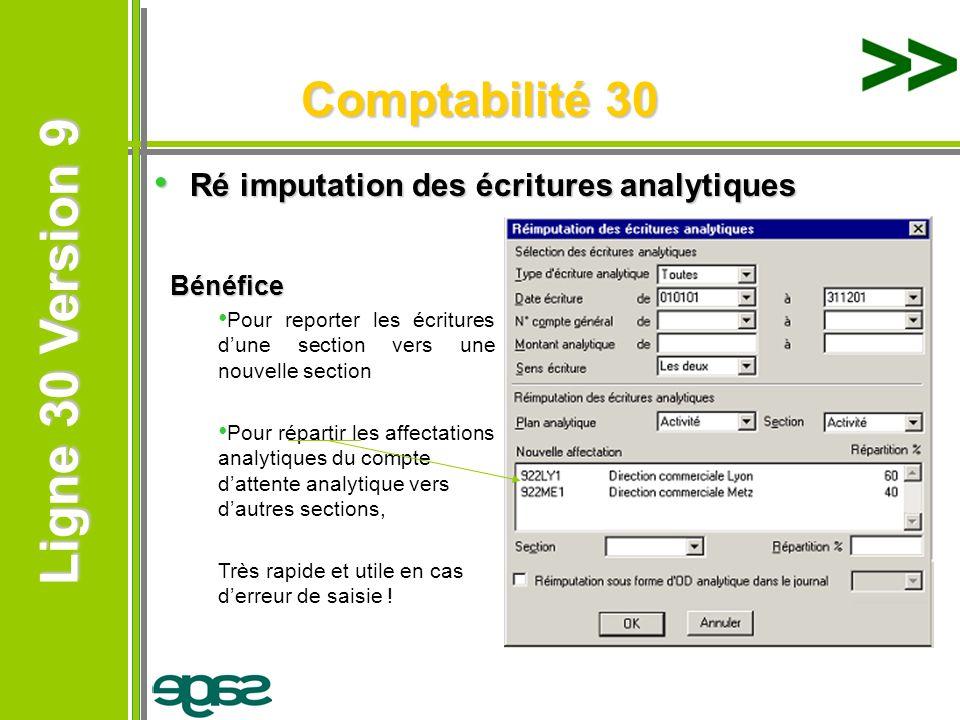Ligne 30 Version 9 Ligne 30 Version 9 Comptabilité 30 Ré imputation des écritures analytiques Ré imputation des écritures analytiques Bénéfice Pour re