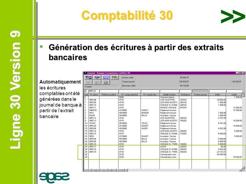 Ligne 30 Version 9 Ligne 30 Version 9 Comptabilité 30 Génération des écritures à partir des extraits bancaires Génération des écritures à partir des e