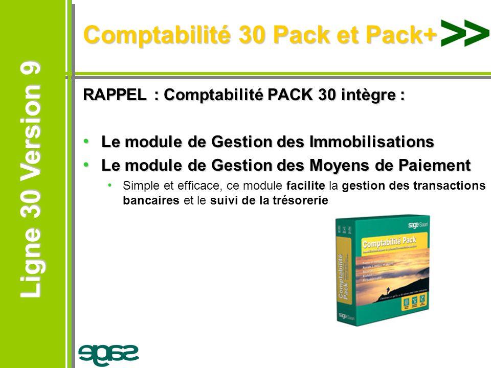 Ligne 30 Version 9 Ligne 30 Version 9 RAPPEL : Comptabilité PACK 30 intègre : Le module de Gestion des Immobilisations Le module de Gestion des Immobi