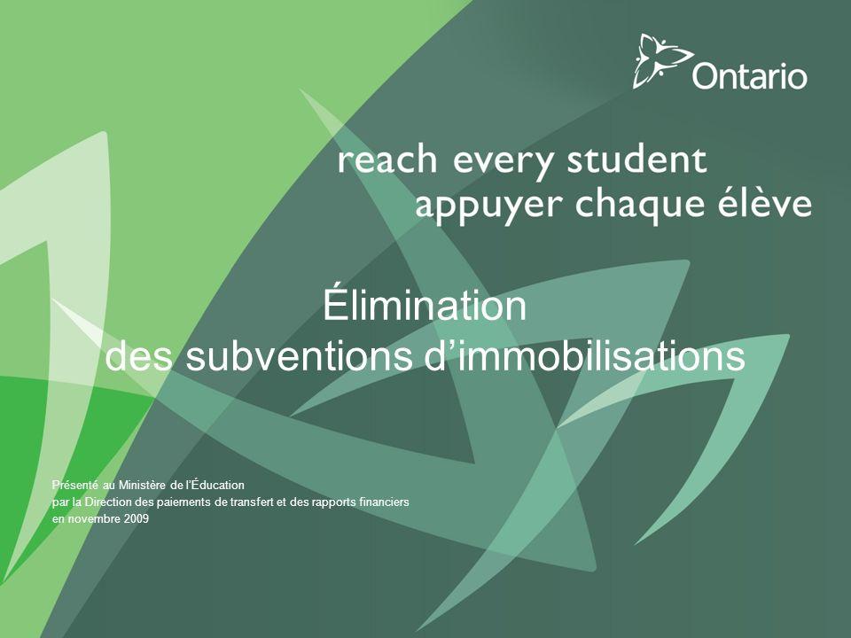 Élimination des subventions dimmobilisations Présenté au Ministère de lÉducation par la Direction des paiements de transfert et des rapports financiers en novembre 2009