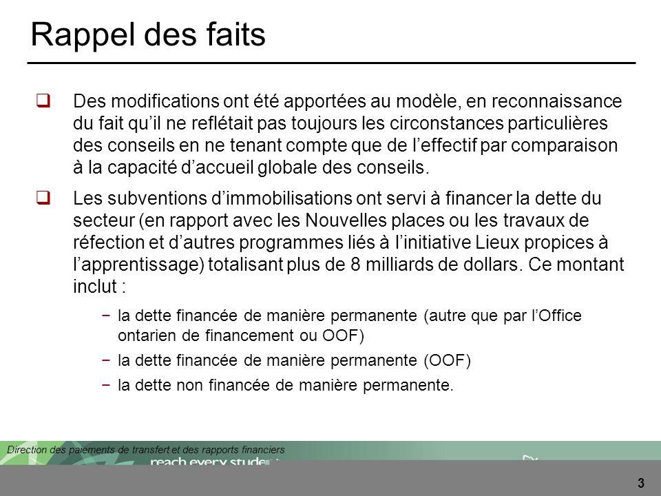Direction des paiements de transfert et des rapports financiers 3 Rappel des faits Des modifications ont été apportées au modèle, en reconnaissance du