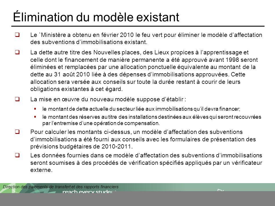 Direction des paiements de transfert et des rapports financiers Élimination du modèle existant Le `Ministère a obtenu en février 2010 le feu vert pour