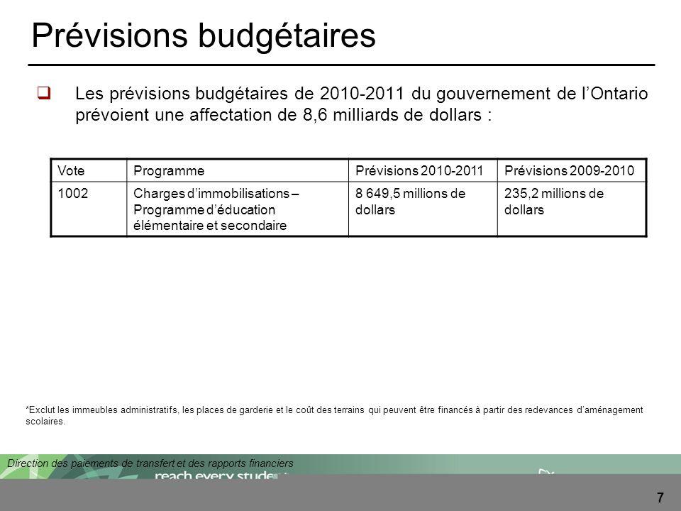 Direction des paiements de transfert et des rapports financiers 7 Prévisions budgétaires Les prévisions budgétaires de 2010-2011 du gouvernement de lO