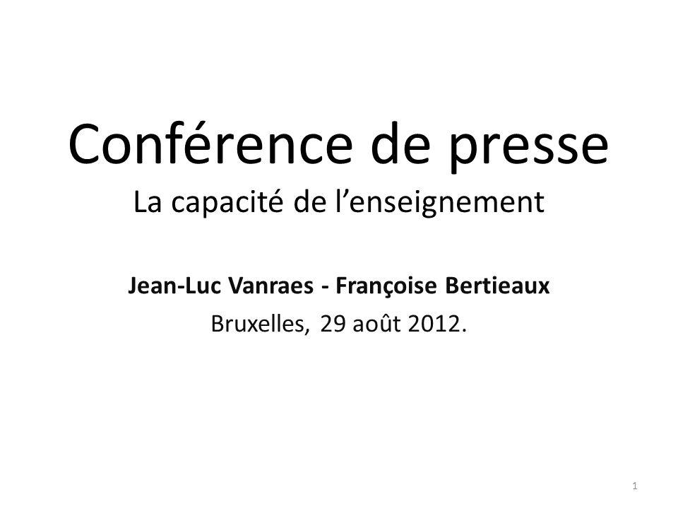 Conférence de presse La capacité de lenseignement Jean-Luc Vanraes - Françoise Bertieaux Bruxelles, 29 août 2012. 1