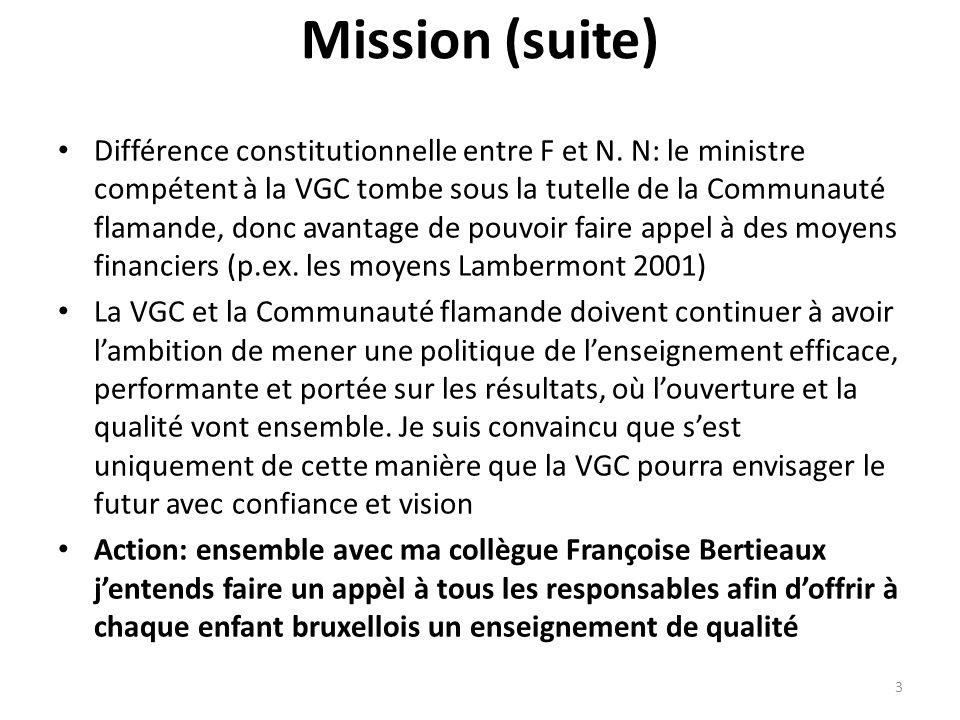Mission (suite) Différence constitutionnelle entre F et N. N: le ministre compétent à la VGC tombe sous la tutelle de la Communauté flamande, donc ava