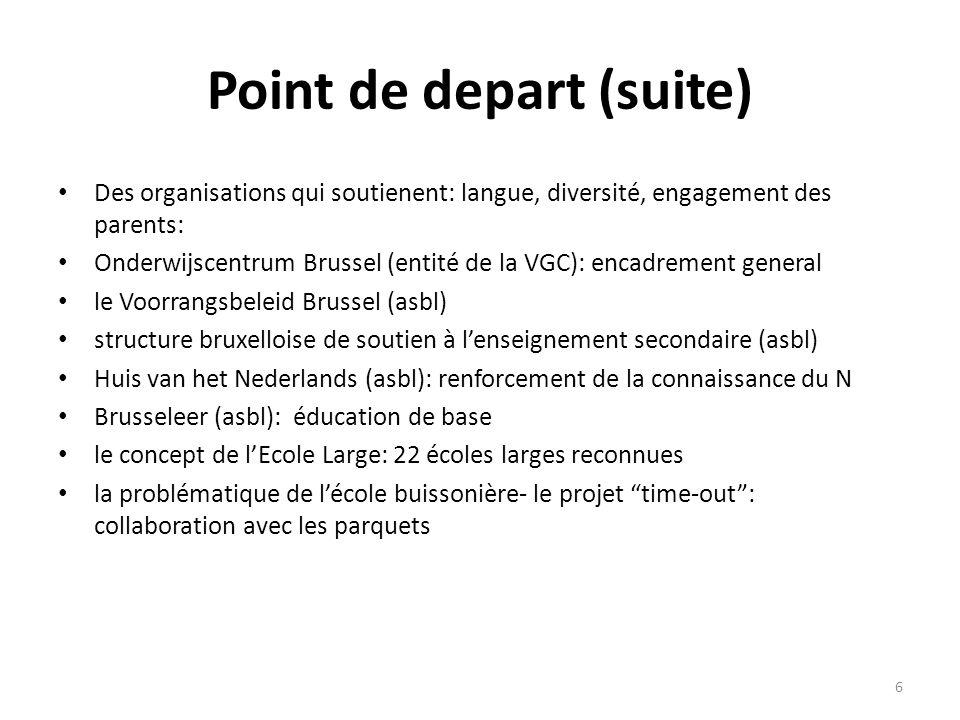 Point de depart (suite) Des organisations qui soutienent: langue, diversité, engagement des parents: Onderwijscentrum Brussel (entité de la VGC): enca