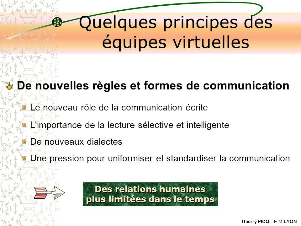 Thierry PICQ – E.M.LYON Des relations humaines plus limitées dans le temps Quelques principes des équipes virtuelles De nouvelles règles et formes de