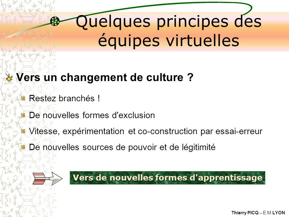 Thierry PICQ – E.M.LYON Vers de nouvelles formes d apprentissage Quelques principes des équipes virtuelles Vers un changement de culture .