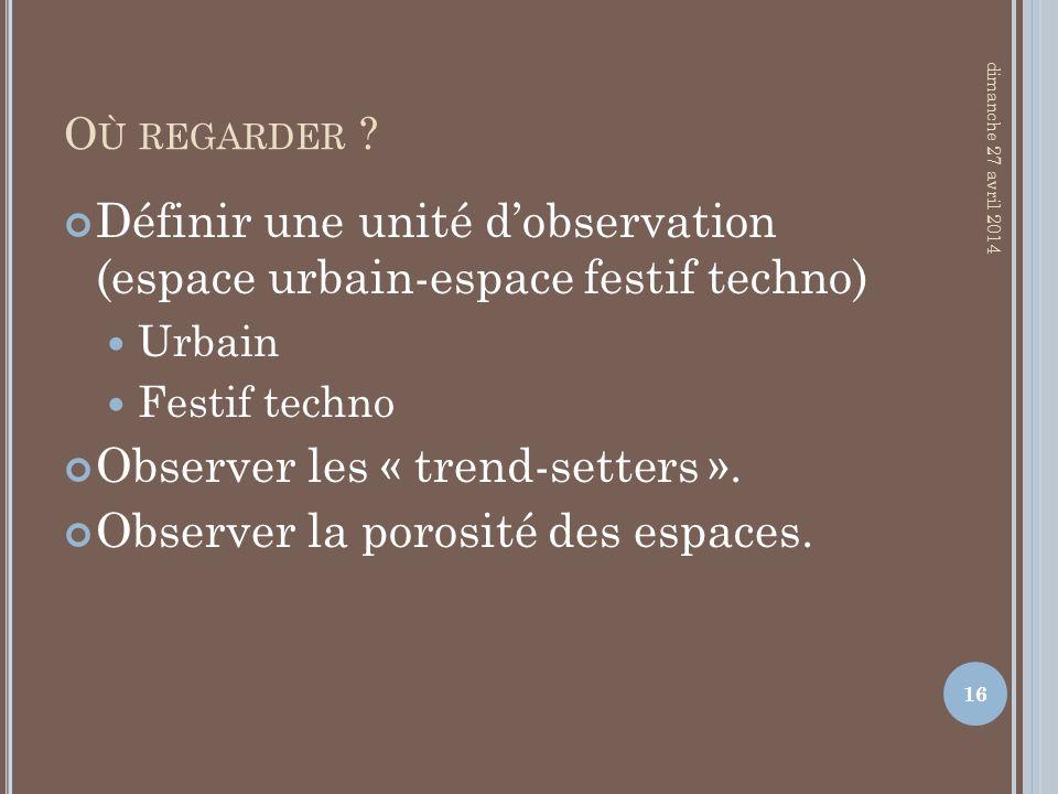 O Ù REGARDER ? Définir une unité dobservation (espace urbain-espace festif techno) Urbain Festif techno Observer les « trend-setters ». Observer la po