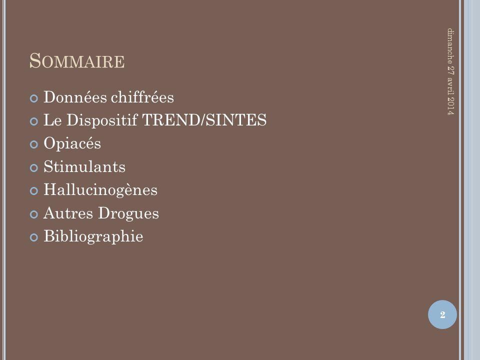 S OMMAIRE Données chiffrées Le Dispositif TREND/SINTES Opiacés Stimulants Hallucinogènes Autres Drogues Bibliographie dimanche 27 avril 2014 2