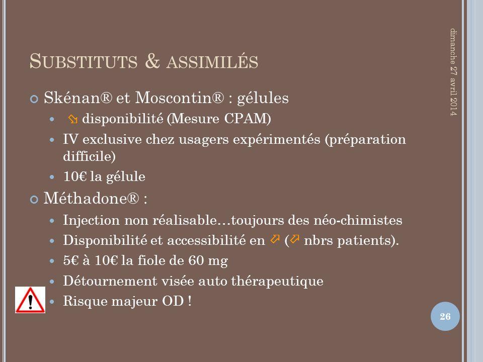 S UBSTITUTS & ASSIMILÉS Skénan® et Moscontin® : gélules disponibilité (Mesure CPAM) IV exclusive chez usagers expérimentés (préparation difficile) 10