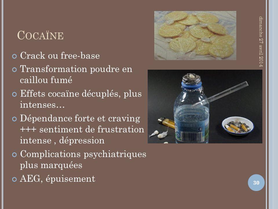 C OCAÏNE Crack ou free-base Transformation poudre en caillou fumé Effets cocaïne décuplés, plus intenses… Dépendance forte et craving +++ sentiment de
