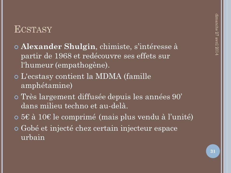 E CSTASY Alexander Shulgin, chimiste, sintéresse à partir de 1968 et redécouvre ses effets sur l'humeur (empathogène). L'ecstasy contient la MDMA (fam