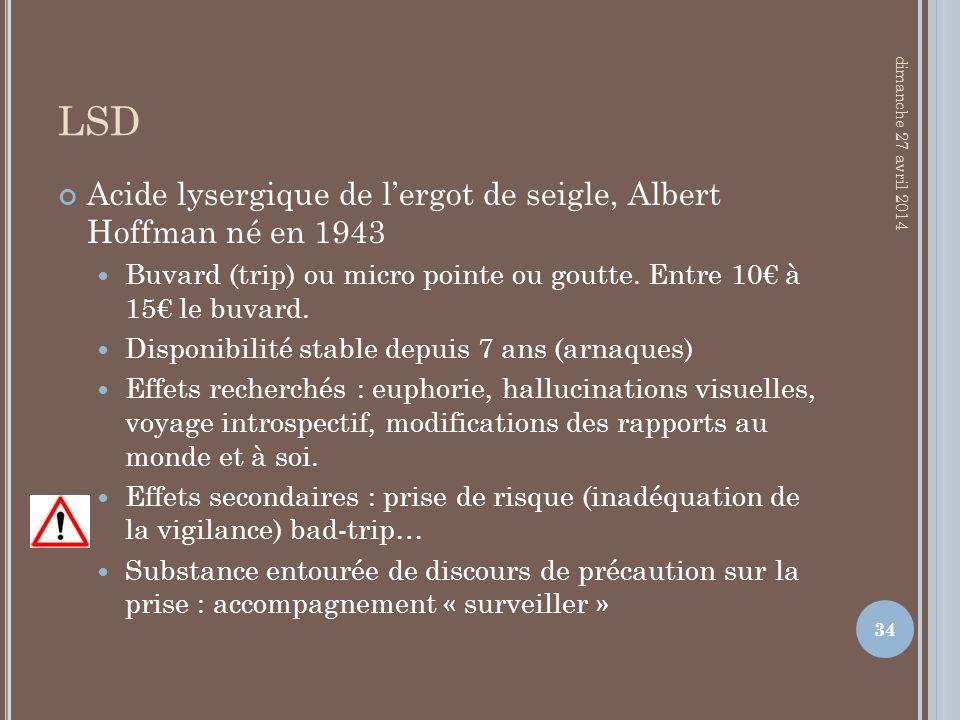 LSD Acide lysergique de lergot de seigle, Albert Hoffman né en 1943 Buvard (trip) ou micro pointe ou goutte. Entre 10 à 15 le buvard. Disponibilité st