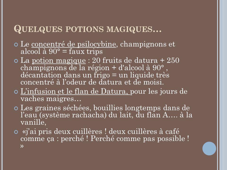 Q UELQUES POTIONS MAGIQUES … Le concentré de psilocybine, champignons et alcool à 90° = faux trips La potion magique : 20 fruits de datura + 250 champ