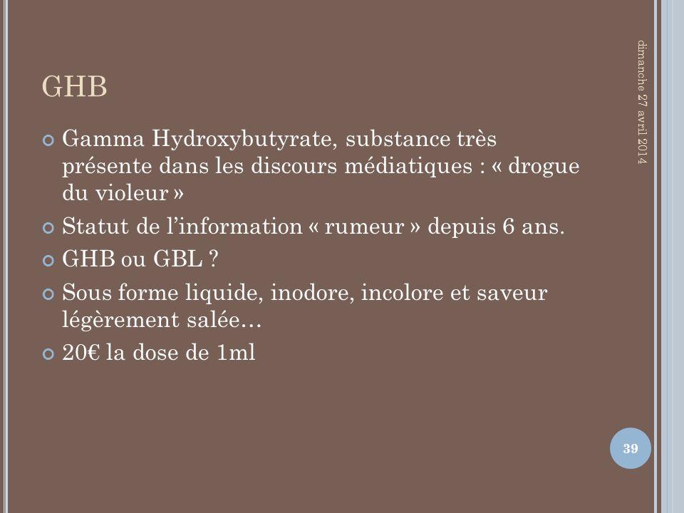 GHB Gamma Hydroxybutyrate, substance très présente dans les discours médiatiques : « drogue du violeur » Statut de linformation « rumeur » depuis 6 an