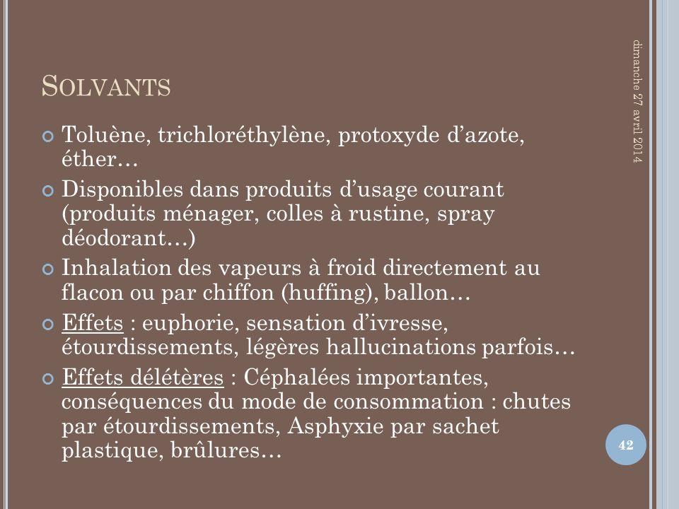 S OLVANTS Toluène, trichloréthylène, protoxyde dazote, éther… Disponibles dans produits dusage courant (produits ménager, colles à rustine, spray déod
