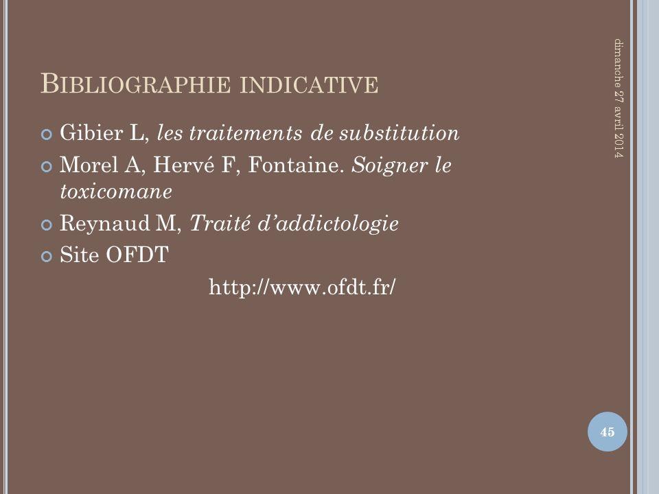 B IBLIOGRAPHIE INDICATIVE Gibier L, les traitements de substitution Morel A, Hervé F, Fontaine. Soigner le toxicomane Reynaud M, Traité daddictologie