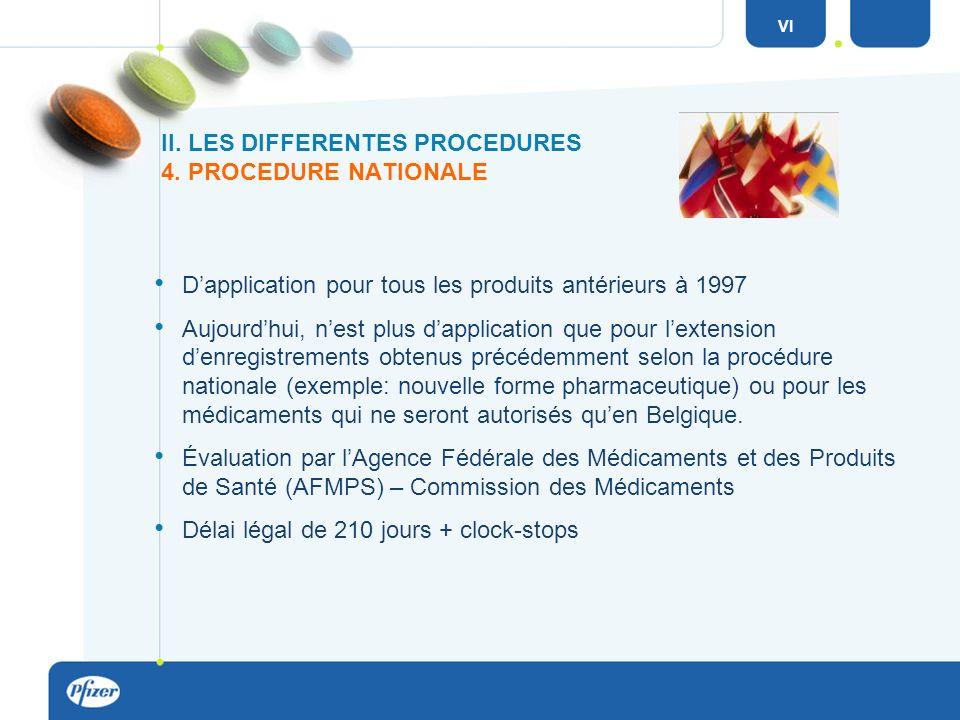 Dapplication pour tous les produits antérieurs à 1997 Aujourdhui, nest plus dapplication que pour lextension denregistrements obtenus précédemment selon la procédure nationale (exemple: nouvelle forme pharmaceutique) ou pour les médicaments qui ne seront autorisés quen Belgique.