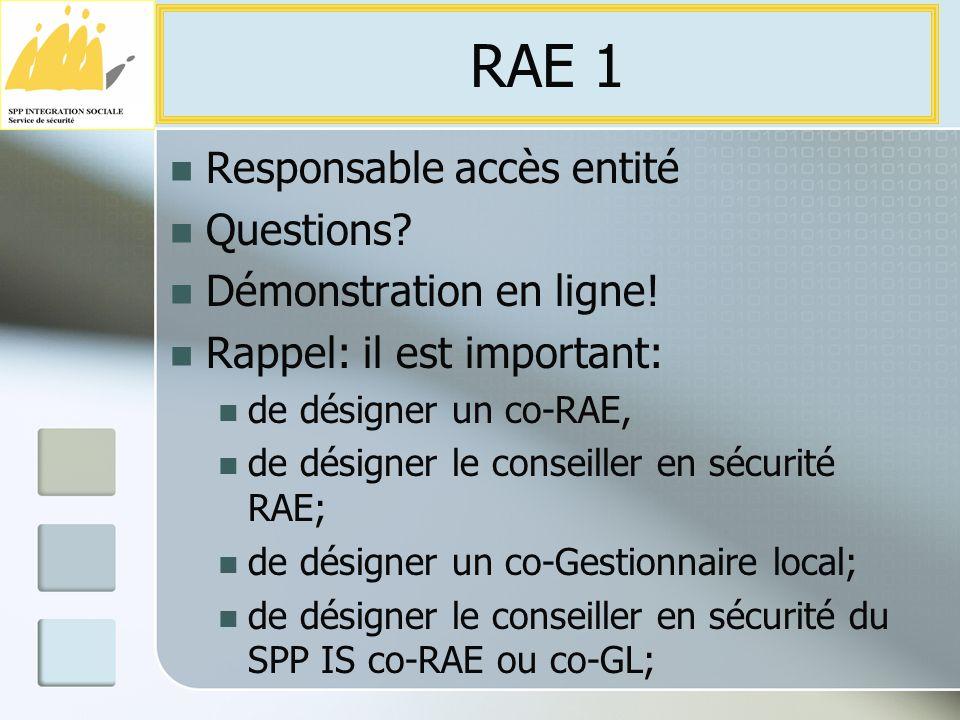 Responsable accès entité Questions. Démonstration en ligne.