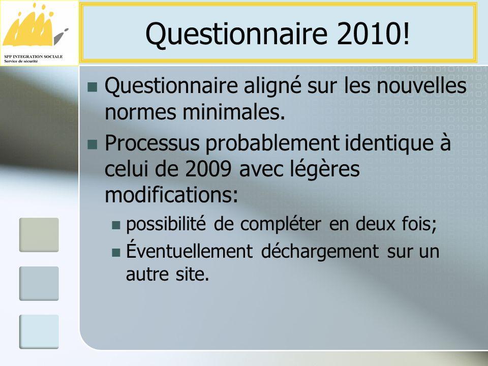 Questionnaire aligné sur les nouvelles normes minimales.