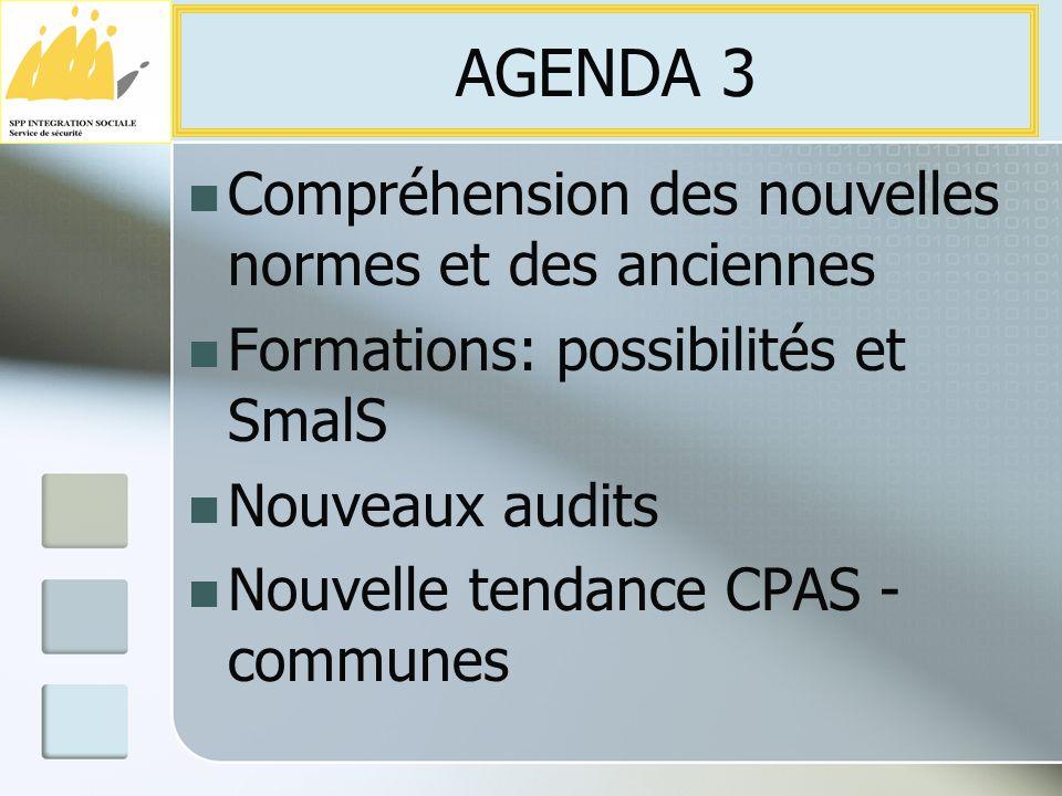 Compréhension des nouvelles normes et des anciennes Formations: possibilités et SmalS Nouveaux audits Nouvelle tendance CPAS - communes AGENDA 3