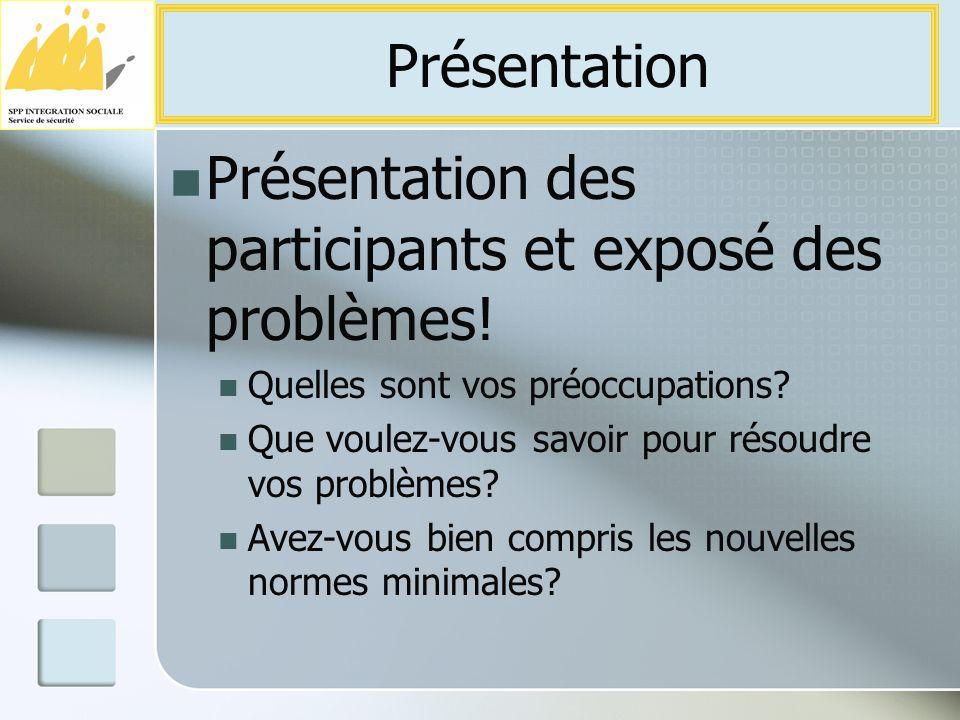 Présentation des participants et exposé des problèmes.